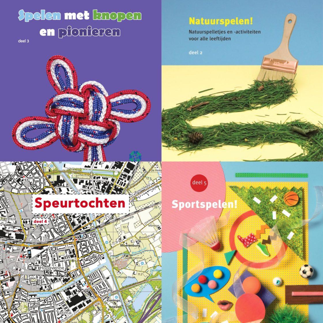 Collage van spelboekjes Natuurspelen, Spelen met knopen en pionieren, Speurtochten en Sportspelen