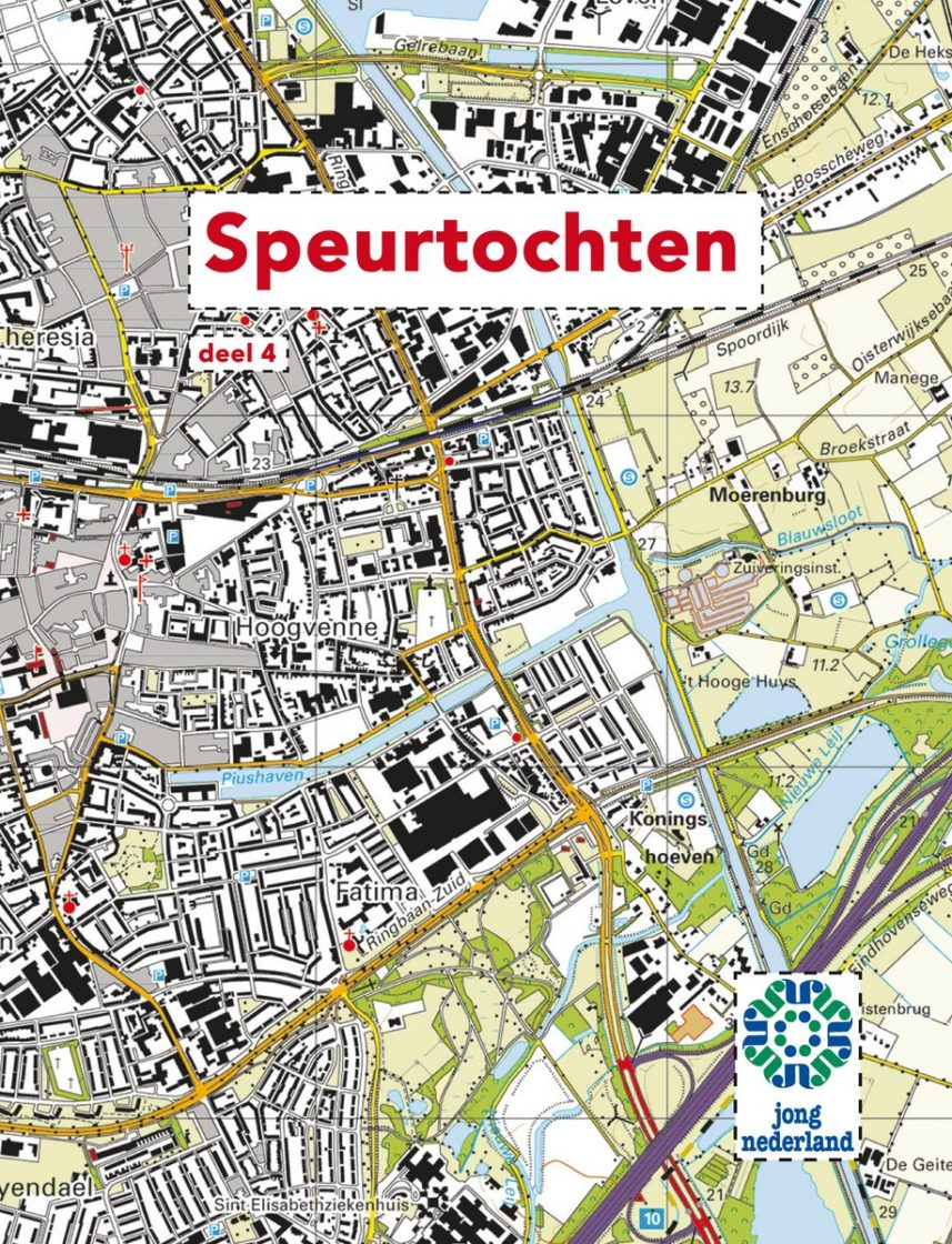 Cover spelboekje Speurtochten met als achtergrond een landkaart.
