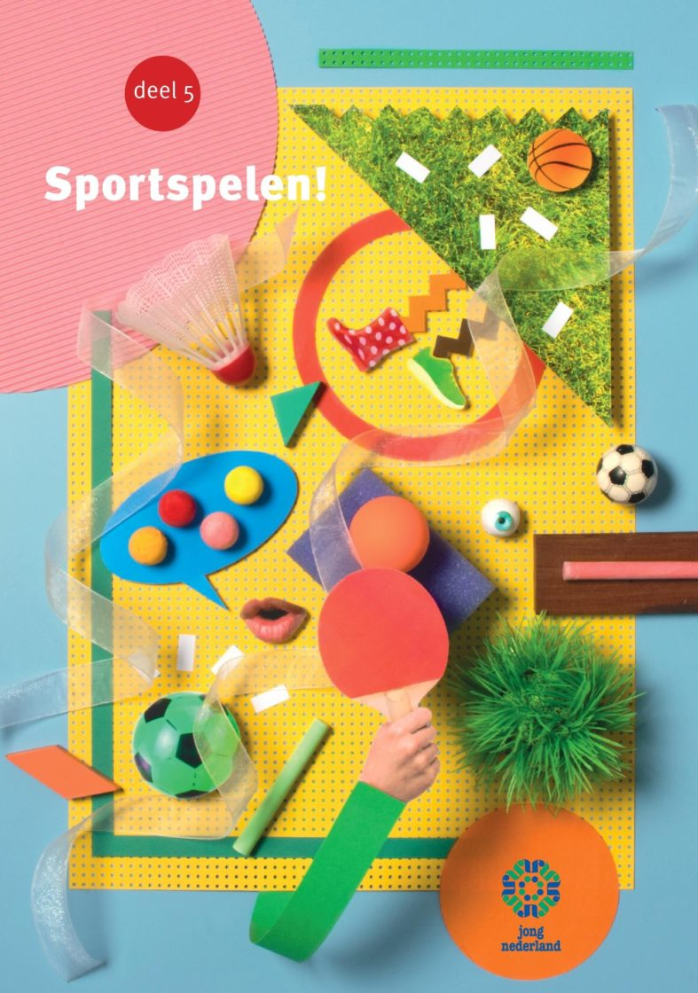 Cover Sportspelen! Verschillende sportattributen, zoals een voetbal, pingpongbatje, basketbal