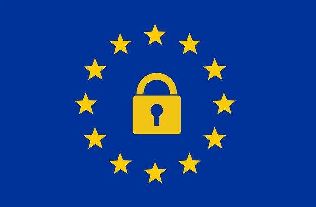 GDPR - de Europese vlag met een slotje erin